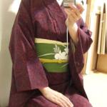 渋谷で落語会。臙脂の着物に蘭の帯。