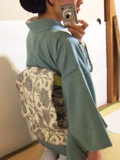 米沢紬に生紬更紗帯