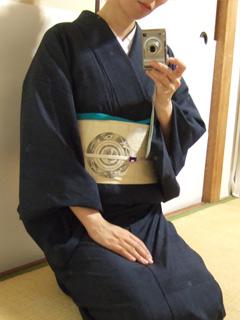 紗紬に絹麻の帯。
