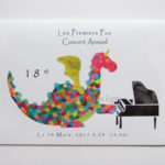 ピアノ教室の発表会プログラム。ドラゴンイラスト。