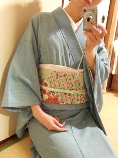 米沢紬 型染め更紗の帯