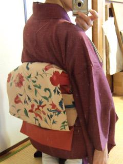 小紋に春色更紗帯。