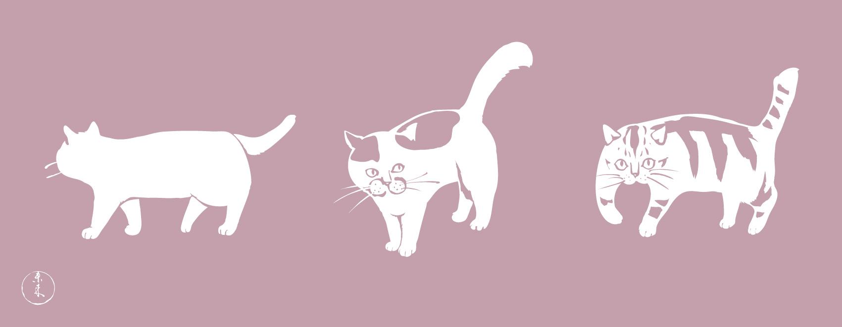 トリオ猫 紅藤 手ぬぐい