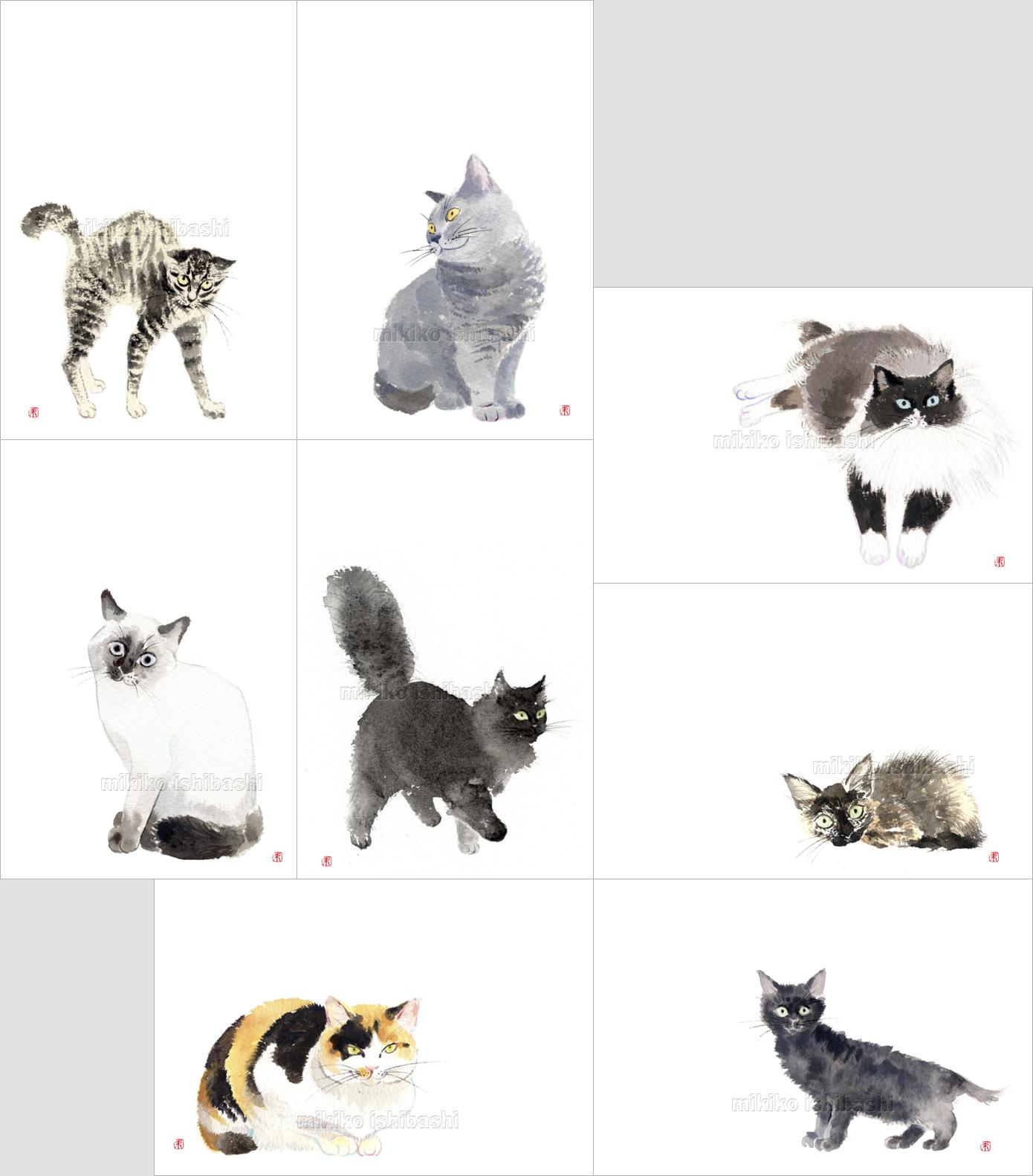 猫のイラスト絵はがきセット