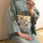 米沢紬に生紬帯。西荻窪へお出かけ。