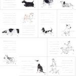 犬と猫のイラスト一筆箋。